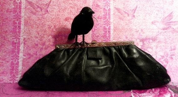 Antique Victorian Steampunk Black Clutch Purse- Gold Framed satin lined- Vintage old Spooky Gothic Mourning Handbag