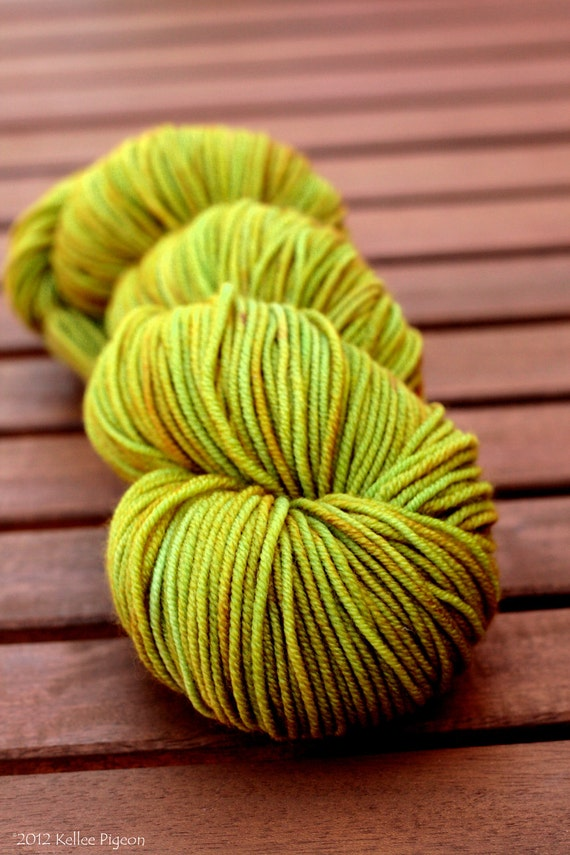 "Sport Yarn - OOAK hand-dyed1005 SW Merino - ""Sprout"""
