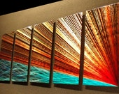"Abstract Metal Wall Art Painting a Sculpture by Nider the Internationally Acclaimed Artist of Contemporary Decor 64""W x 24""H - River's Edge"