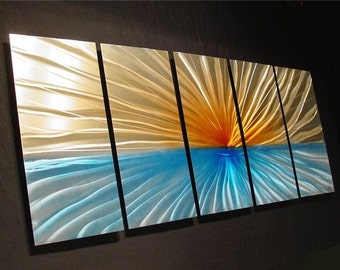 Abstract Metal Wall Art Original Painting a Sculpture by 360StudioArt a Internationally Acclaimed Artist of Contemporary Decor - New Day