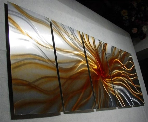 Metal Art Original Abstract Painting a metal wall Sculpture Fine Art by 360StudioArt - Large - Electric