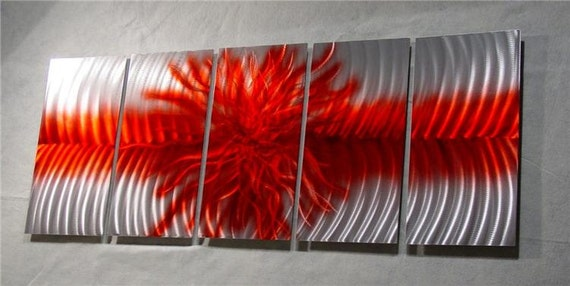 "Abstract Painting Metal Wall Art Sculpture by Nider a Internationally Acclaimed Artist of Contemporary Decor 64""W x 24""H - Explosion in Red"