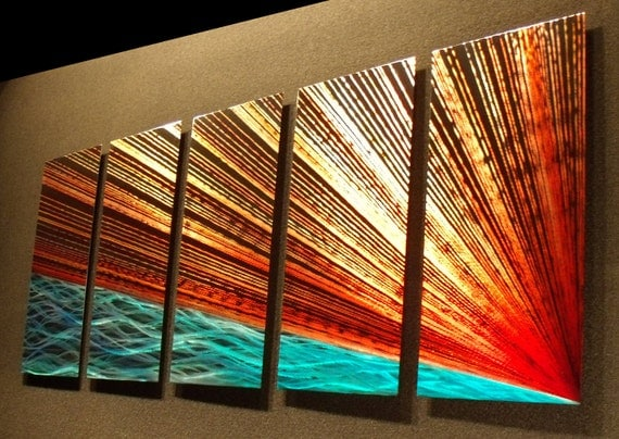 """Abstract Metal Wall Art Painting a Sculpture by Nider the Internationally Acclaimed Artist of Contemporary Decor 64""""W x 24""""H - River's Edge"""