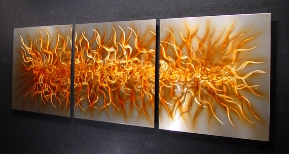 """Abstract Metal Wall Art a Metal Art Sculpture Painting by Nider the Internationally Acclaimed Artist 74""""W x 24""""H - Golden Amber Chaos-3"""