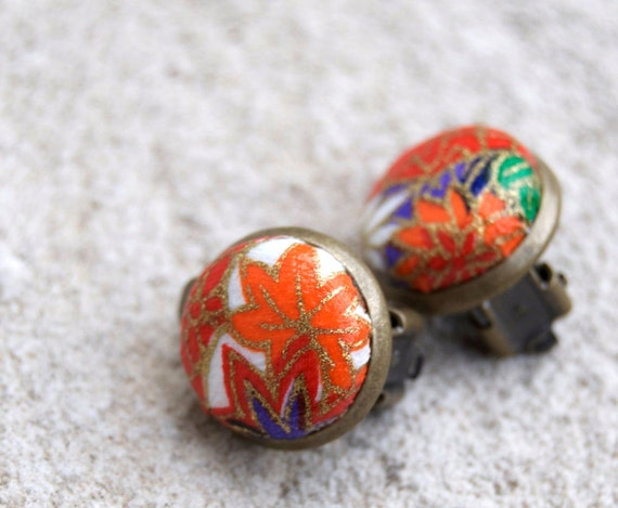 Japanese yuzen chiyogami paper antiqued bronze clip on earrings