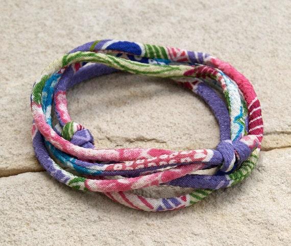 KIMONO FABRIC wrap Bracelet : Japanese chirimen kimono fabric cord adjustable wrap bracelet or necklace with gift box