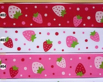 "1"" 25mm white/yellow/red/pink strawberry Grosgrain RIBBON 5 yards hairbow scrapbook you choose 1 color"