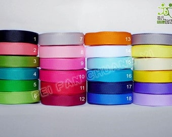 "3/8"" 9mm 5 yard Grosgrain RIBBON 24 colors U pick hairbow scarpbook"