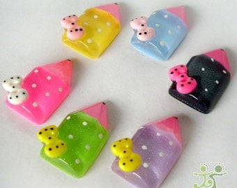 6 pcs mixed color cute Resin Pencil Flatback Button/cute bow cabochon