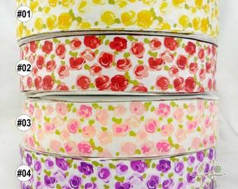 "1.5"" 38mm Yellow/red/pink/purple/blue roses grosgrain RIBBON 2 yards haribow scarpbook"