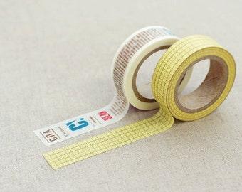 Washi Tape - Masking Tape Winni -   Typography & Yellow Grid Pattern Set ( 2 rolls)