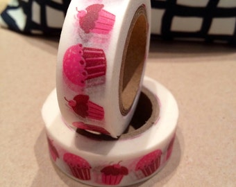 Japanese Washi Tape - Masking Tape roll in Pink Cup Cakes