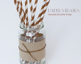 25 Chocolate and White Striped Paper Straws - Standard 7.75'' / 19.68cm