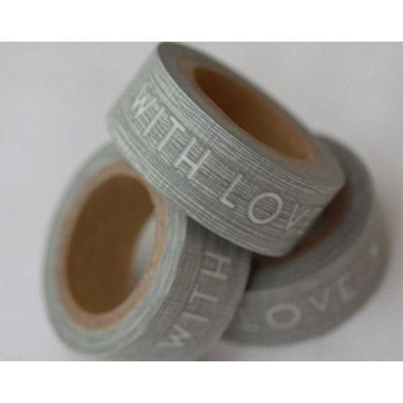 With Love Paper Tape - Masking Tape single roll in Grey and White