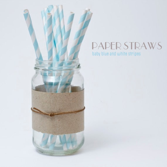 25 Baby Blue and White Striped Paper Straws - Free Editable DIY Flags - Standard 7.75'' / 19.68cm