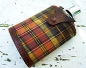 Vintage Glass Flask with Metal Shotglass topper and Plaid Carrier