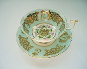 Vintage Mint Green and Gilt Teacup and Saucer