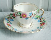 Vintage Shabby Chic Demitasse Tea Cup and Saucer