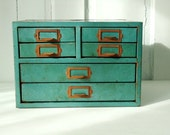 Totally Retro Teal Desktop Small Tool Chest