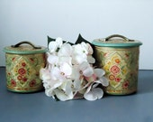 Pair of Floral Tin Canisters -Kitchen Canister - Turquoise and Pink Floral Tin - Holland Canister