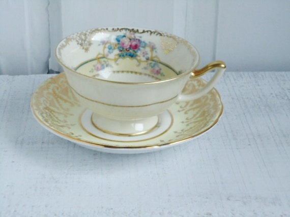 Shabby Chic Vintage Mix and Match Cup and Saucer in Butter Yellow