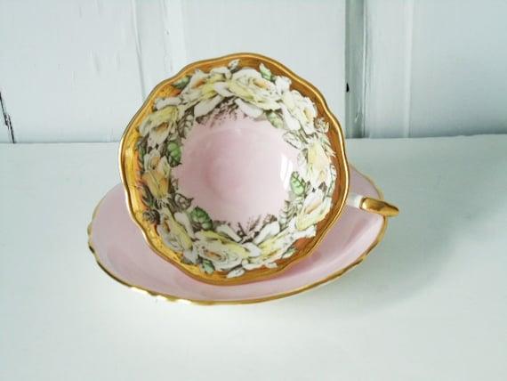 Vintage Tea Cup and Saucer,  Vintage Pink And Gold Gilt Teacup and Saucer, Paragon Teacup and Saucer Set