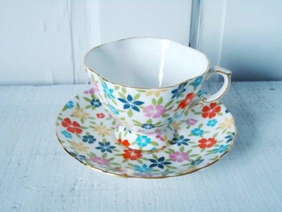 Mod Flower Power Teacup and Saucer