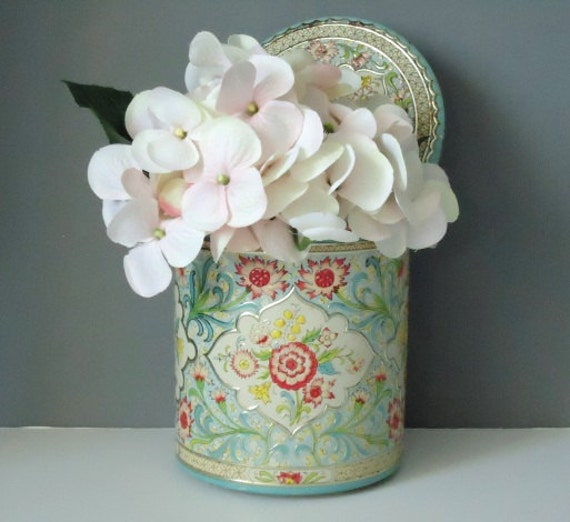 Kitchen Storage Canister - Floral Embossed Turquoise and Pink - Vintage Tin Holland Canister