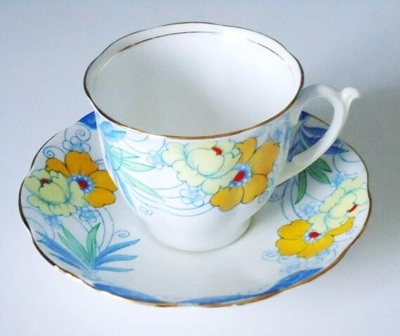 Antique Bell China Art Deco Tea Cup and Saucer - Vintage Deco Teacup and Saucer Set - Vintage Cup and Saucer Set