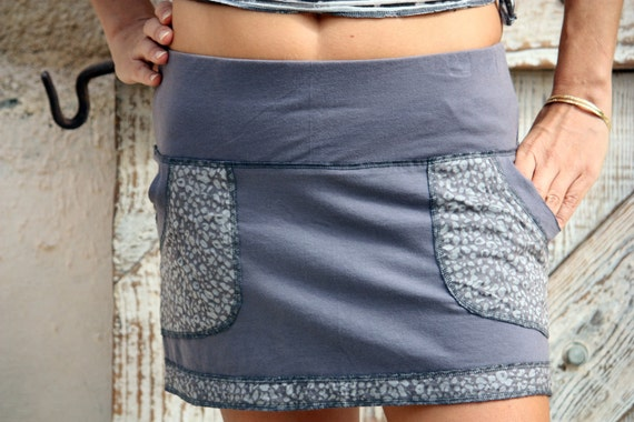 SALE- cotton mini skirt with pocket in light gray