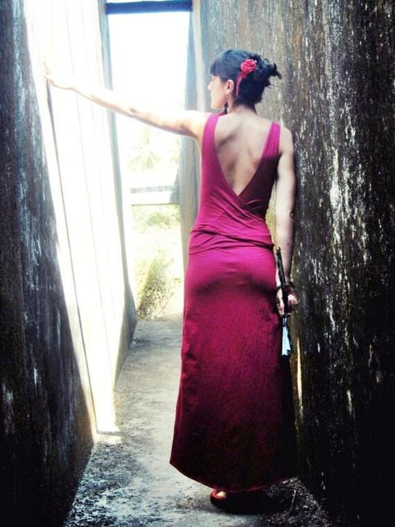 SALE Open back red maxi dress, Convertible wrap dress, Goddess dress