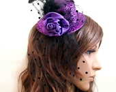 Shiny Purple Lace Feather Veil Fascinator Top Hat Hair Clip Wedding Party Prom