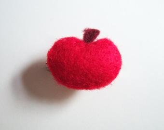 Red Apple Felt Brooch
