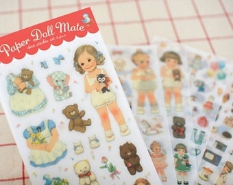 6 sheets Paper Doll Mate Stickers (Transparent)