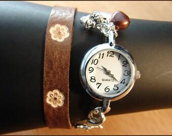 wrist watch silver with handmade leather bracelet