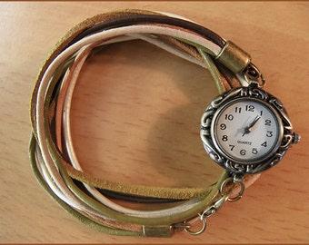women wrist watch leather bracelet bronze brown beige nature