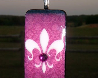 SALE PRICED***Party on Bourbon Street Domino Pendant with free matching Necklace 1416