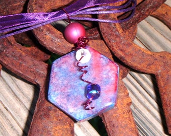 SALE PRICED****Purple Rain Hexagon Tile pendant with wire wrapped beading  1525