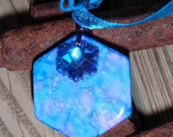 Ole Blue Eyes Hexagon Tile Pendant with crystal charm and free necklace 25