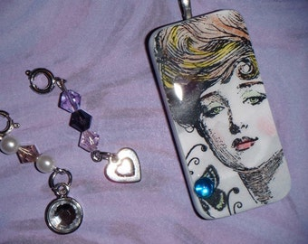 Victorian Elegance Domino Pendant with 2 Detachable Charms and free necklace 92