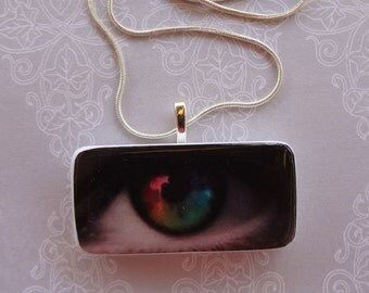 The World Through My Eyes  Domino Pendant with silver  snake chain   upcycled domino domnino jewelry  420