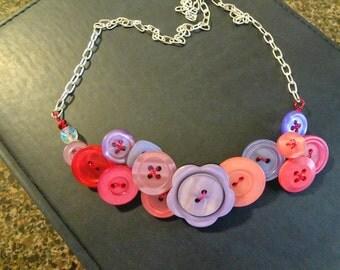 Lavendar Fields Button Necklace Button jewelry  Vintage Buttons  Button jewelry  T722