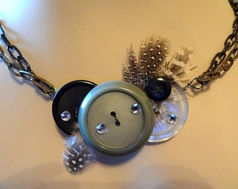 Brass and Class Button and Feather Necklace Button Jewelry  T721
