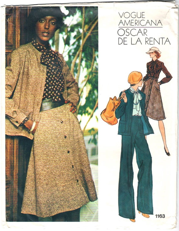 Billie Blair models a 1970s Oscar de la Renta suit and blouse pattern - Vogue 1163