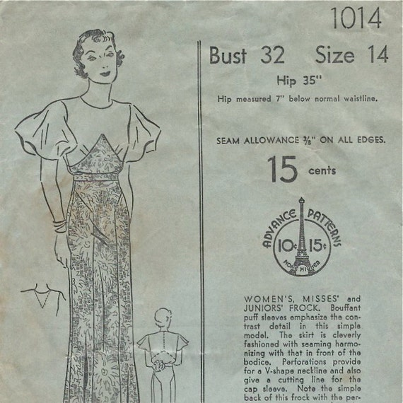 Classic early 1930s dress pattern for day or evening -- Advance 1014