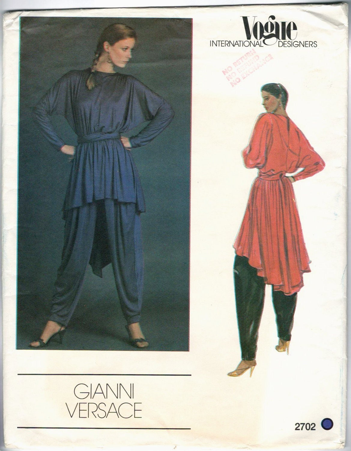 Vogue 2702 by Gianni Versace: 1980s pattern for a draped tunic, harem pants, and sash