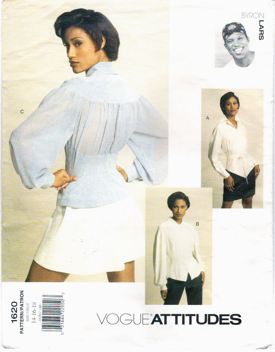 1990s Byron Lars shirts pattern - Vogue 1620