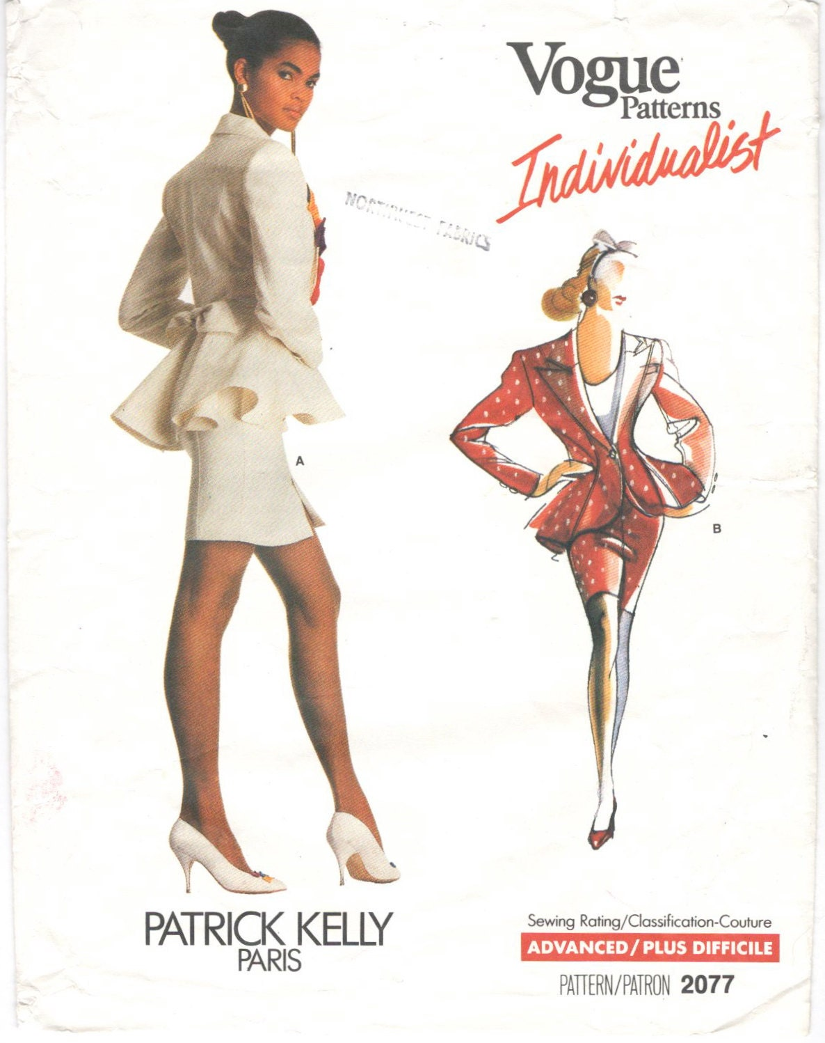 1980s Patrick Kelly peplum suit pattern Vogue 2077