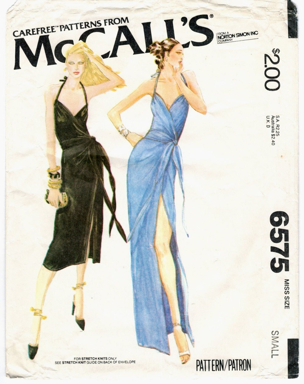 1970s Bob Mackie dress pattern - McCall's 6575