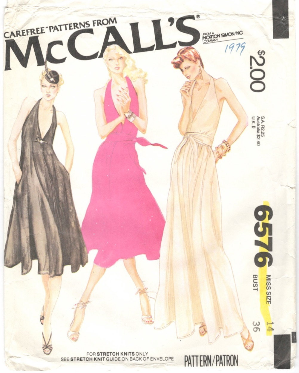 1970s Bob Mackie dress pattern - McCall's 6576